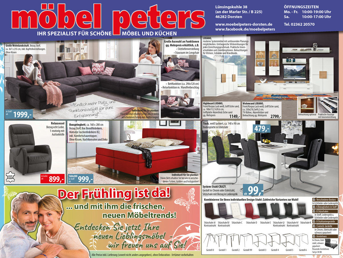 aktuelle werbung m bel peters ihr spezialist f r. Black Bedroom Furniture Sets. Home Design Ideas